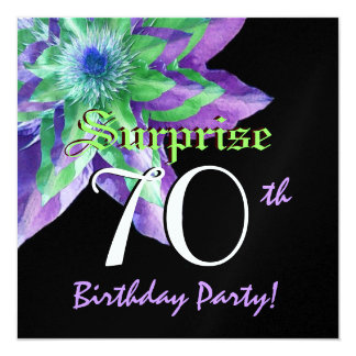SURPRISE 70th Birthday Party Colorful Flower W072 Card