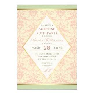 Surprise 70th Birthday Party | Damask Diamond Bow Card