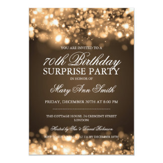 Surprise 70th Birthday Party Gold Sparkling Lights Card