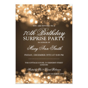 Surprise 70th Birthday Party Gold Sparkling Lights Invitation