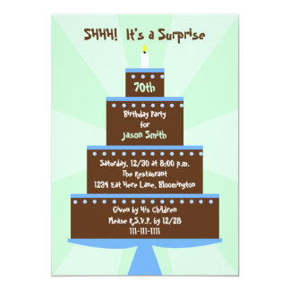 Surprise 70th Birthday Party Invitation Cake