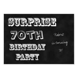 Surprise 70th Birthday Party Invitation Chalkboard