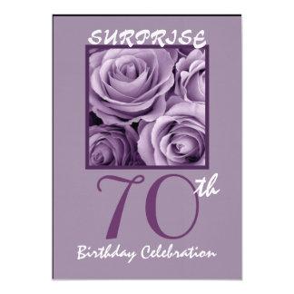 SURPRISE 70th Birthday Party Invite Purple Roses