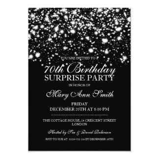 Surprise 70th Birthday Party Silver Midnight Glam Card