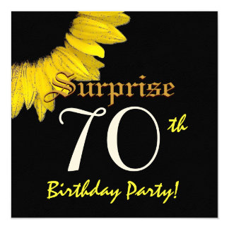 SURPRISE 70th Birthday Party Yellow Sunflower 13 Cm X 13 Cm Square Invitation Card
