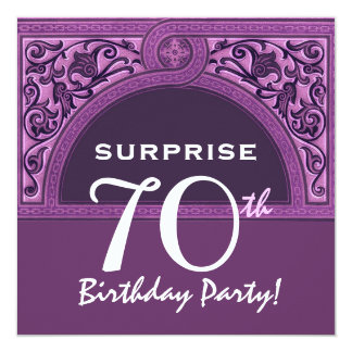 SURPRISE 70th Birthday Purple Arch H482 13 Cm X 13 Cm Square Invitation Card
