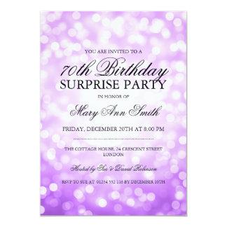 Surprise 70th Birthday Purple Gold Glitter Lights Card