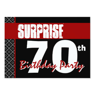 Surprise 70th Birthday Red and Black V05 Card