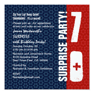 SURPRISE 70th Birthday Red White Blue Stars 13 Cm X 13 Cm Square Invitation Card