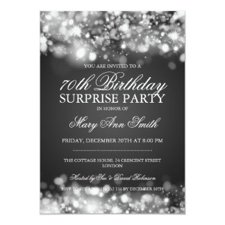 Surprise 70th Birthday Silver Sparkling Lights Card