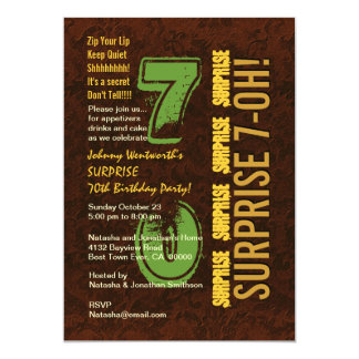 SURPRISE 70th Modern Birthday Brown and Gold E001 13 Cm X 18 Cm Invitation Card