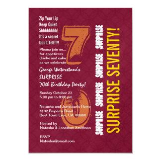 SURPRISE 70th Modern Birthday Burgundy Gold V004 13 Cm X 18 Cm Invitation Card