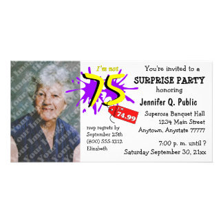 Surprise 75th Birthday Party Photo Invitation Photo Greeting Card