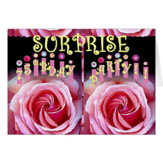 SURPRISE 75th Birthday Party with Double Roses Greeting Card