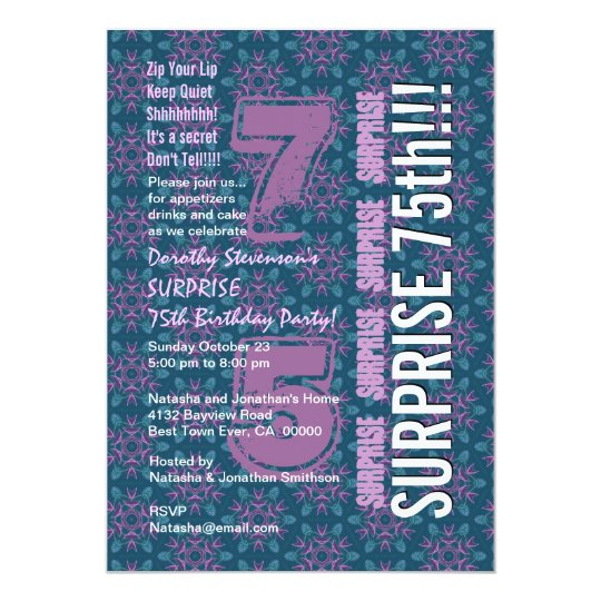 SURPRISE 75th Modern Birthday Purple and Teal G538 Card