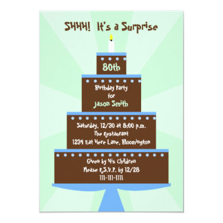 Surprise 80th Birthday Party Invitation Cake