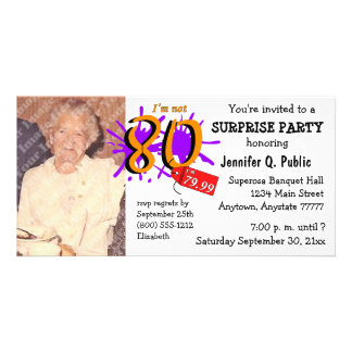 Surprise 80th Birthday Party Photo Invitation Personalized Photo Card