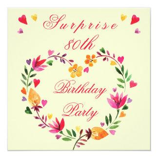Surprise 80th Birthday Watercolor Floral Heart 13 Cm X 13 Cm Square Invitation Card