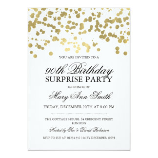 Surprise 90th Birthday Party Gold Foil Confetti Card