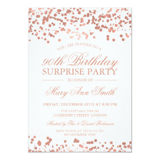 Surprise 90th Birthday Party Rose Gold Foil Card