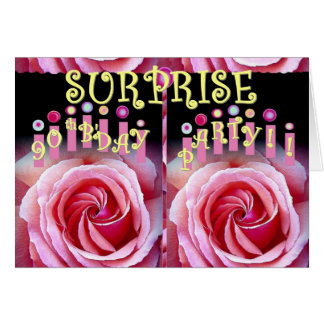 SURPRISE 90th Birthday Party with Double Roses Greeting Card