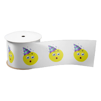 Surprise Birthday Emoji Satin Ribbon