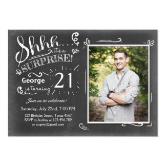 Surprise birthday invitation 21 Chalkboard Rustic