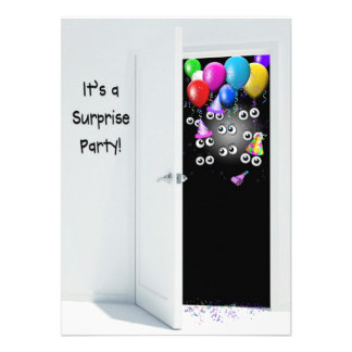 Surprise Birthday Party behind door Custom Invitation