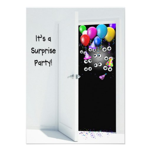 Surprise  Birthday Party behind door Custom Invitation