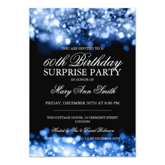 Surprise Birthday Party Blue Sparkling Lights 13 Cm X 18 Cm Invitation Card