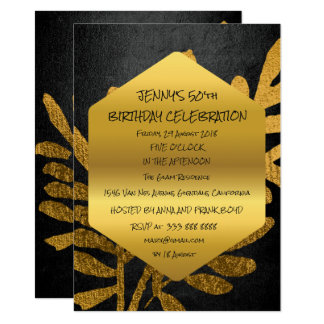 Surprise Birthday Party Fall Golden Leaf Glam 11 Cm X 16 Cm Invitation Card
