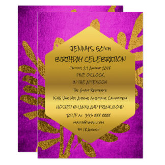 Surprise Birthday Party Fall Golden Leaf Pink 11 Cm X 16 Cm Invitation Card