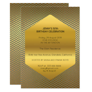Surprise Birthday Party Green Golden Deco Glam 11 Cm X 16 Cm Invitation Card