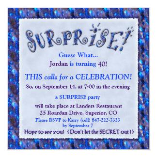"""Surprise Birthday Party Invitation 5.25"""" Square Invitation Card"""