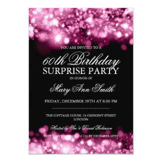 Surprise Birthday Party Pink Sparkling Lights 5x7 Paper Invitation Card