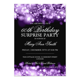 Surprise Birthday Party Purple Sparkling Lights Card