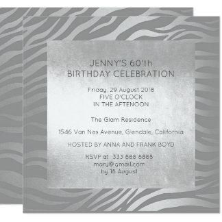 Surprise Birthday Party Silver Animal Skin Glam 13 Cm X 13 Cm Square Invitation Card