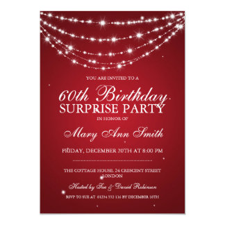 Surprise Birthday Party Sparkling Chain Red 13 Cm X 18 Cm Invitation Card