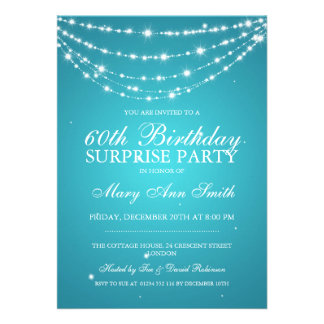 Surprise Birthday Party Sparkling Chain Turquoise Card