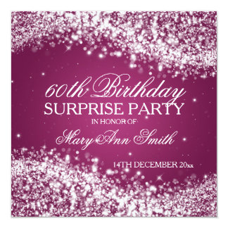 Surprise Birthday Party Sparkling Wave Pink 13 Cm X 13 Cm Square Invitation Card