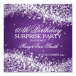 Surprise Birthday Party Sparkling Wave Purple 13 Cm X 13 Cm Square Invitation Card