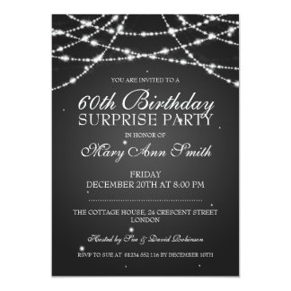 Surprise Birthday Party String of Stars Black 13 Cm X 18 Cm Invitation Card
