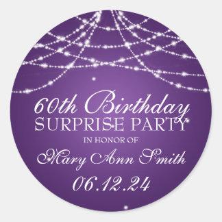 Surprise Birthday Party String of Stars Purple Classic Round Sticker