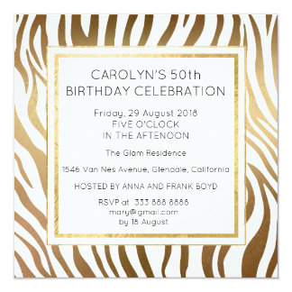 Surprise Birthday Party Zebra Skin Gold Glam 13 Cm X 13 Cm Square Invitation Card