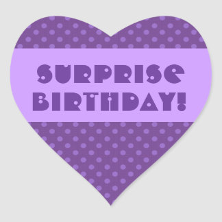 Surprise Birthday Polka Dot Favor or Seal Heart Sticker