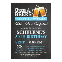 30th birthday invitations announcements zazzle surprise cheers and beers 30th birthday invitation filmwisefo Images