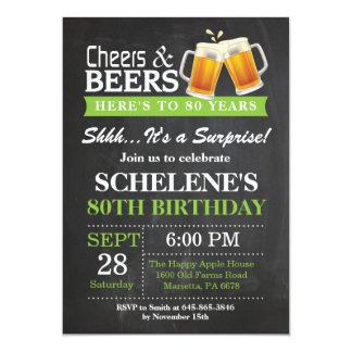 Surprise Cheers and Beers 80th Birthday Invitation