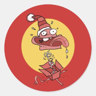 surprise clown funny cartoon classic round sticker
