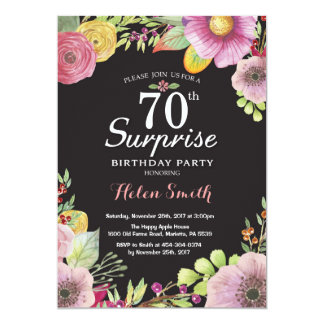 Surprise Floral 70th Birthday Invitation for Women