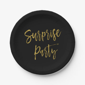 Surprise Gold Foil Birthday Party Plates